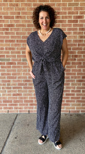 Animal Print Front Tie Wide Leg Jumpsuit