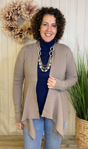 Ribbed Open Draped Cardigan