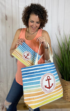 Load image into Gallery viewer, Striped Beach Bag with Anchor