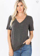 Load image into Gallery viewer, Cotton V Neck Solid Tee