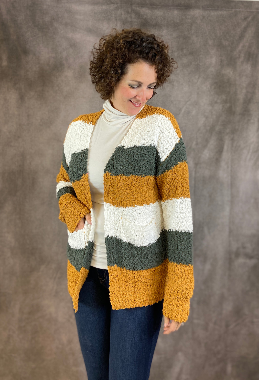 Popcorn Earthy Striped Cardigan