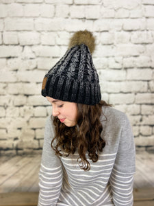 CC Ombre Cable Knit Pom Beanie