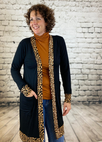 Leopard Trim Solid Cardigan