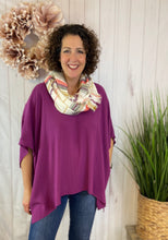 Load image into Gallery viewer, Drop Shoulder Poncho Style Tunic Top - PURPLE