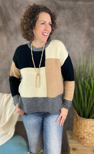 Colorblock Sweater with Long Fabric Back