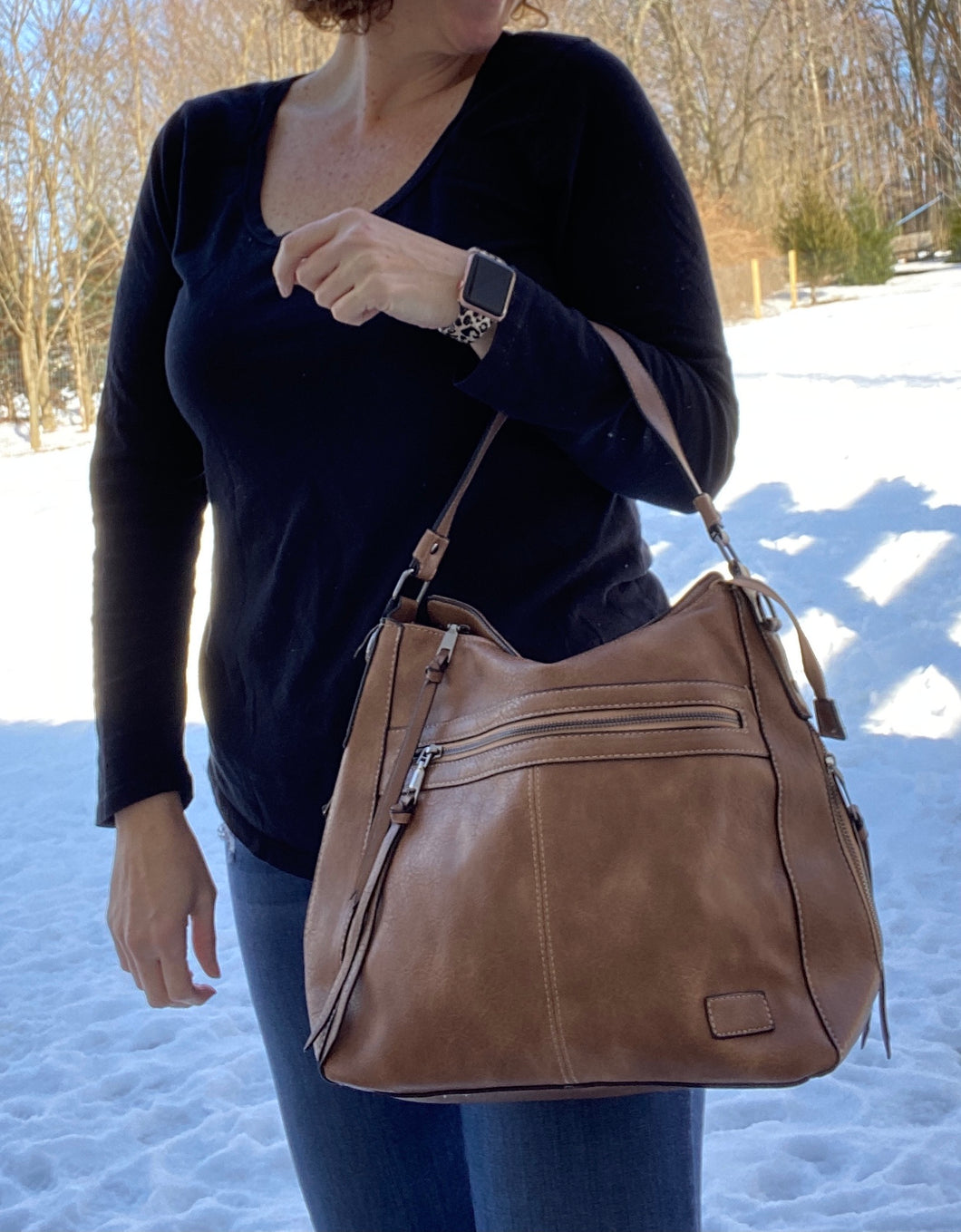 Victory Vegan Leather Handbag - CAMEL