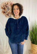 Load image into Gallery viewer, Fuzzy Knit Half-Zip Hooded Pullover - NAVY
