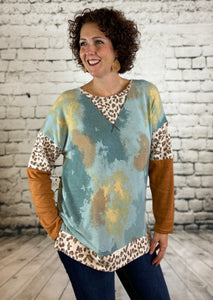 Tie Dye Top with Leopard Detail