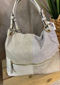 Patchwork Hobo Bag - GRAY