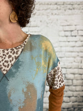 Load image into Gallery viewer, Tie Dye Top with Leopard Detail