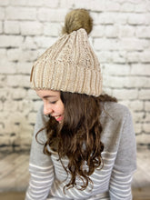Load image into Gallery viewer, CC Ombre Cable Knit Pom Beanie