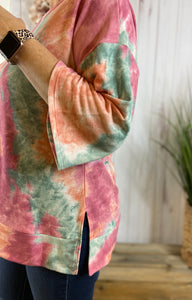 Tie Dye Banded Bottom Top with Bell Sleeve
