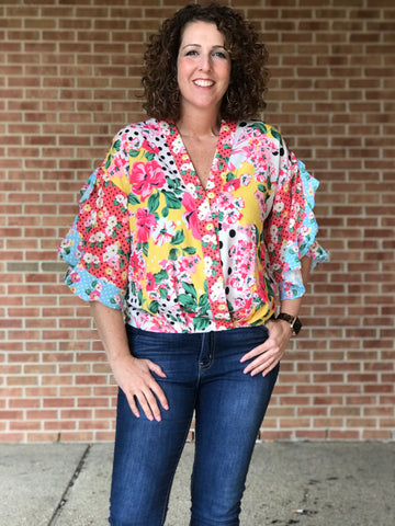 Floral and Polka Dot Surplice Top
