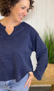 Split Neck Cozy Top