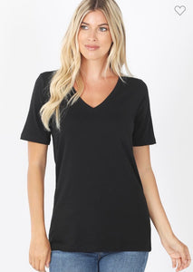 Cotton V Neck Solid Tee
