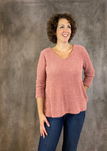 Fuzzy V Neck Solid Sweater