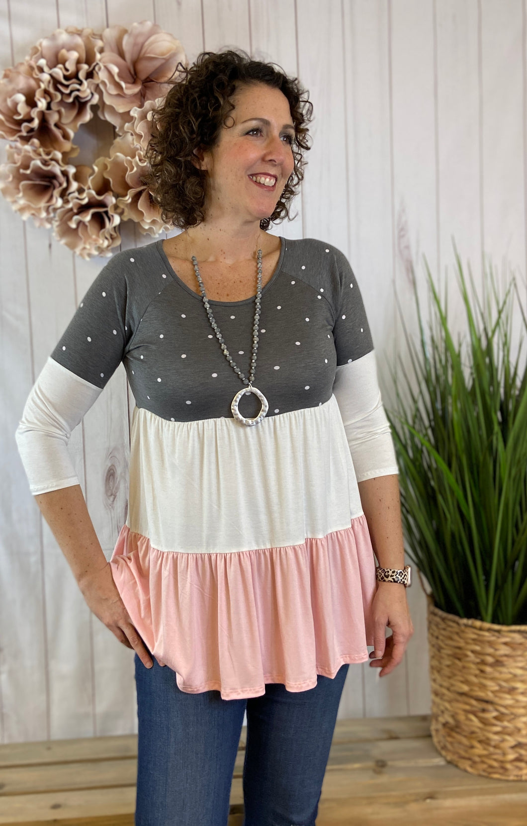 Polka Dot Tiered Baby Doll Top
