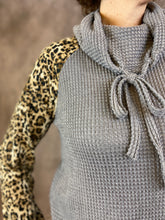 Load image into Gallery viewer, Cowl Neck Waffle Top with Leopard Sleeves