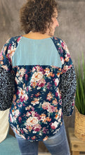 Load image into Gallery viewer, Floral and Animal Puff Sleeve Top - DUSTY MINT MIX