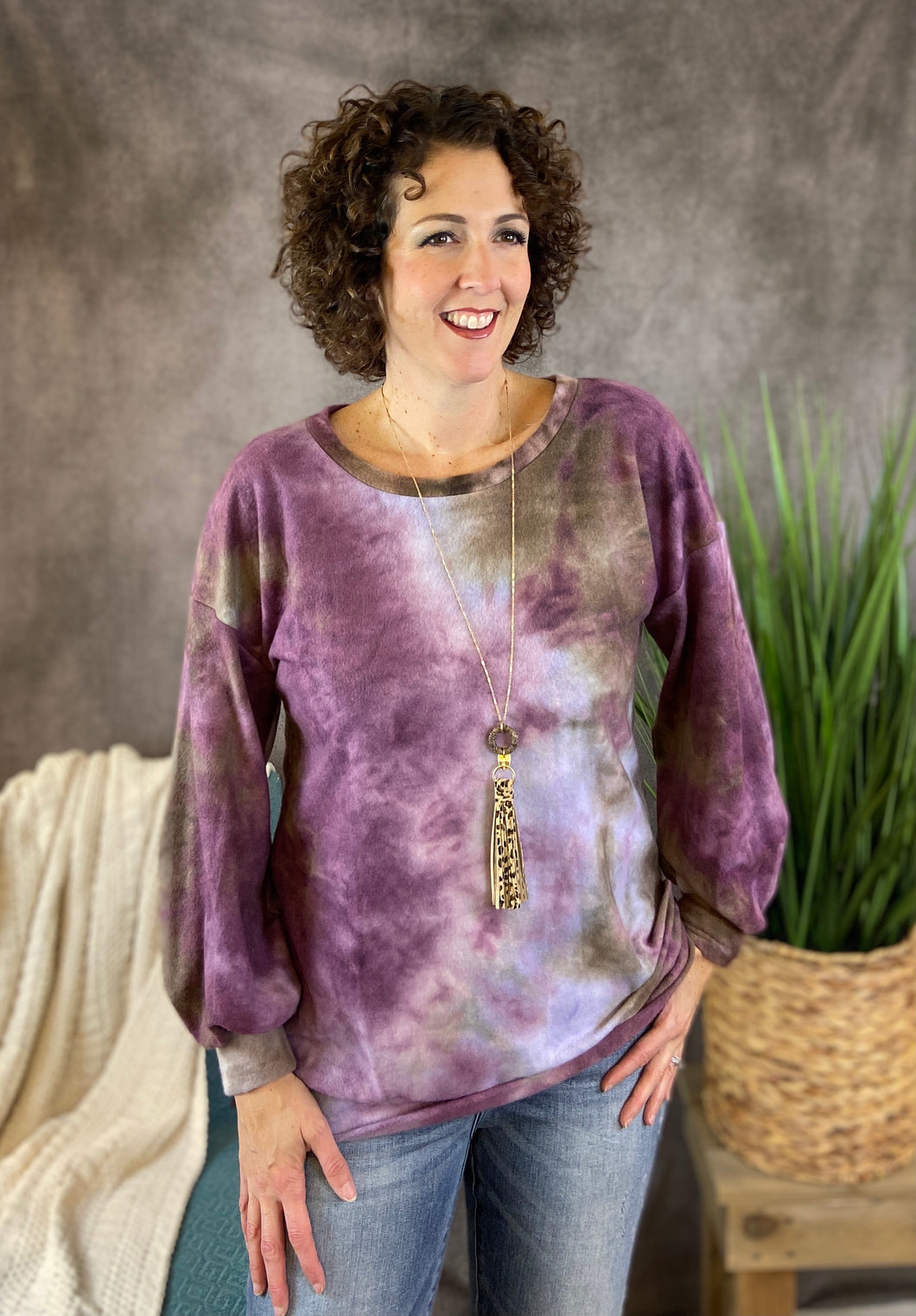 Brushed Soft Tie Dye Top - Purple