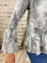 Load image into Gallery viewer, Tie Dye V Neck Top with Ruffle Bottom