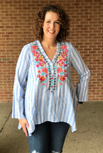 Striped Embroidered Tunic