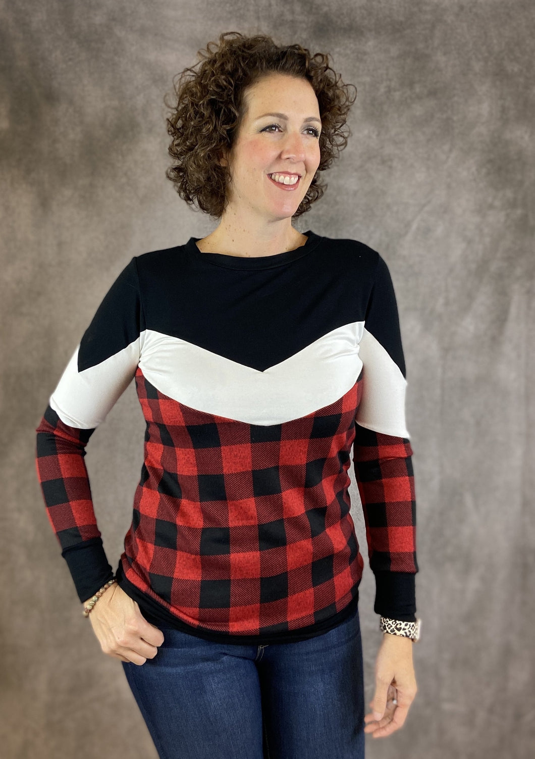 Chevron Buffalo Plaid Top