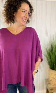 Drop Shoulder Poncho Style Tunic Top - PURPLE
