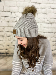 CC Diagonal Knit Fur Pom Hat