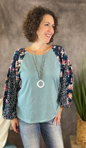 Floral and Animal Puff Sleeve Top - DUSTY MINT MIX