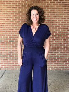 Surplice Jumpsuit with Smocked Waist Band