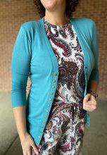 Load image into Gallery viewer, 3/4 Sleeve Snap Front Cardigan - DUSTY TEAL