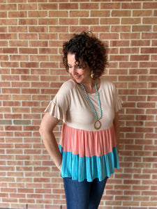 Colorblock Tiered Top with Ruffle Sleeve