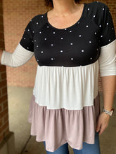 Load image into Gallery viewer, Polka Dot Tiered Baby Doll Top - MOCHA