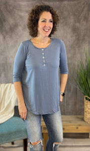 Dolphin Hem Button Front Top - CEMENT