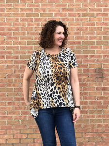 Ombre Animal Print Top with Asymmetrical Hem