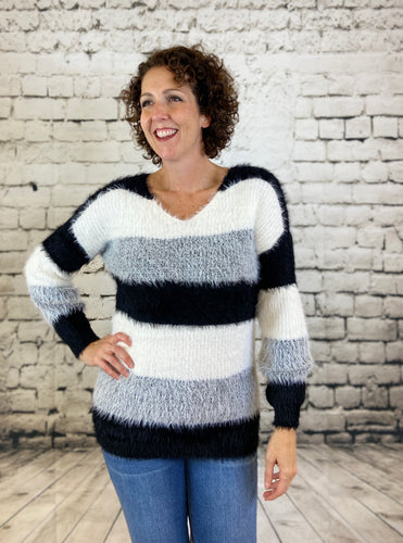 Eyelash Stripe V Neck Sweater