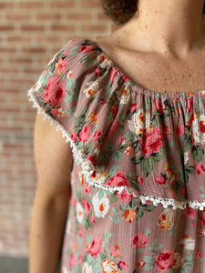Floral Ruffle Top Off the Shoulder Dress