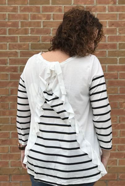 Ruffle Back Striped Sleeve Curvy Top