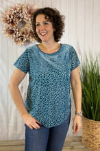 Load image into Gallery viewer, Velvet Leopard Burnout Top - DUSTY BLUE