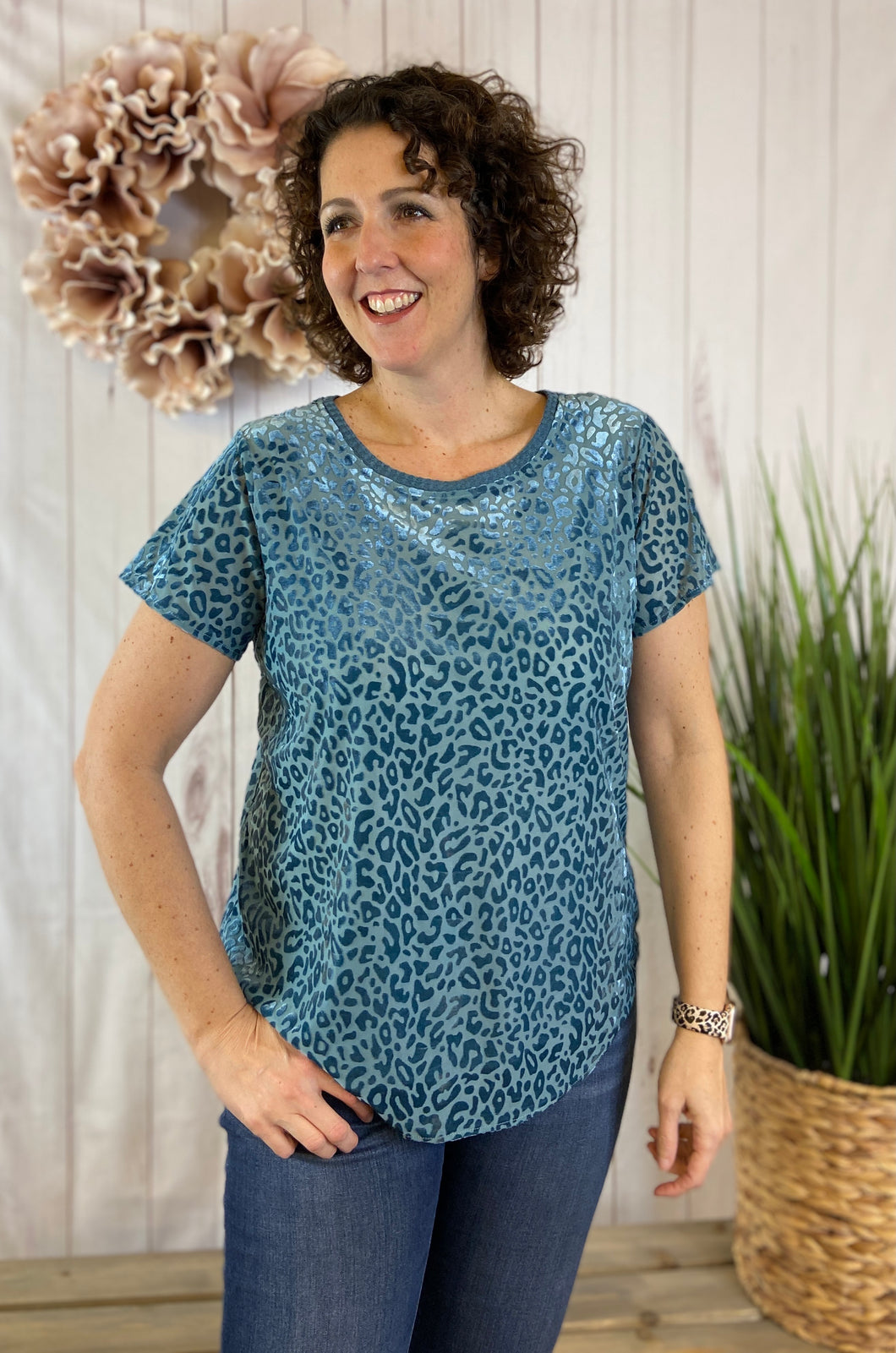 Velvet Leopard Burnout Top - DUSTY BLUE