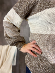 Melange Color Block Sweater - Mocha
