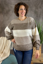 Load image into Gallery viewer, Melange Color Block Sweater - Mocha