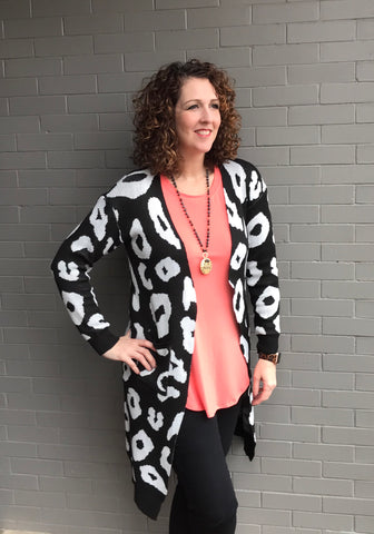 Leopard Long Knit Cardigan