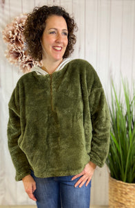 Fuzzy Knit Half-Zip Hooded Pullover - OLIVE