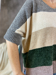 Chenille Color Block Dolman Sweater