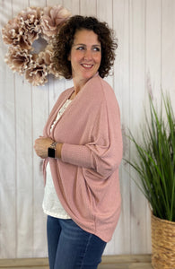 Ribbed Knit Cocoon Cardigan - MAUVE