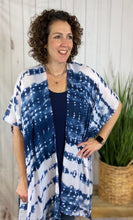 Load image into Gallery viewer, Navy Tie Dye Kimono with Tassels