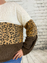 Load image into Gallery viewer, Colorblock Leopard Sherpa Pullover