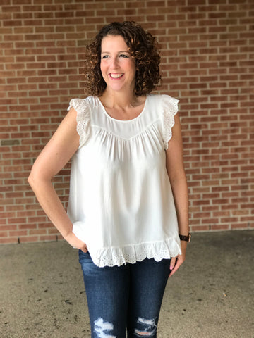 Eyelet Trim Sleeveless Top
